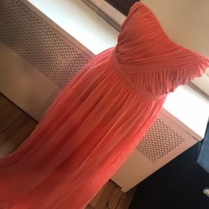 Erin Featherson Silk Chiffon Coral Gown
